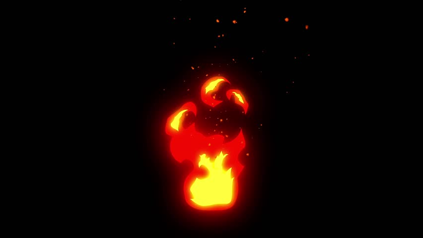 Burning Fire Animation, Comic Style, Loop,