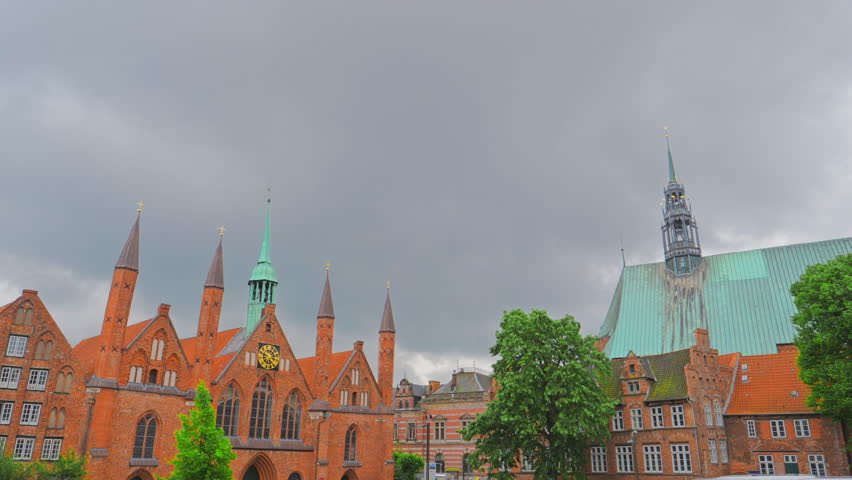Facade of Lubeck Dom cathedral church, Germany