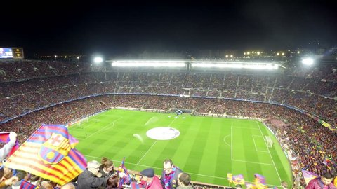 BARCELONA, SPAIN - circa MAR, 2017: A general view of the Camp Nou Stadium in the football match between Futbol Club Barcelona and PSG