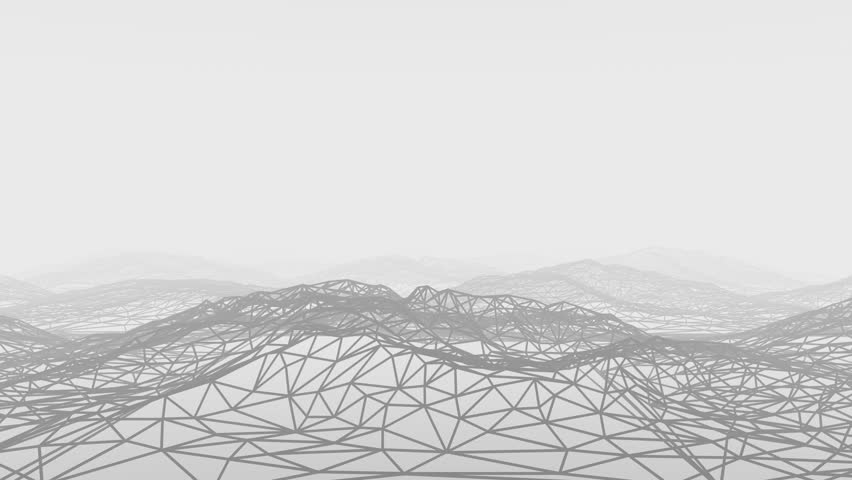 3D animation - Flying over an abstract geometric structure of mountains
