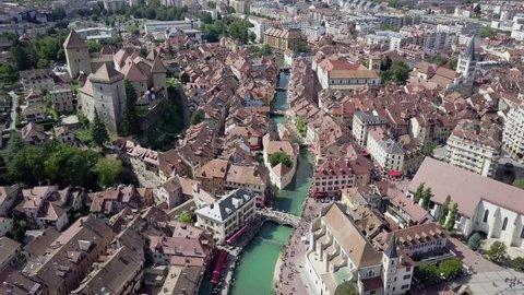 Aerial view of Annecy old town and castle, French. Annecy is an alpine town in southeastern France, where Lake Annecy feeds into the Thiou River.