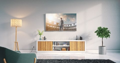 Footage of a living room led tv on white wall with wooden table and plant in pot showing cricket game moment on 3D rendered sports stadium.