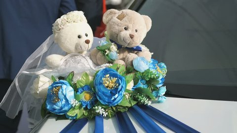 Merry wedding tradition - decorating wedding car on hood in the form of bears - newlyweds of bride and groom during wedding ceremony outdoors