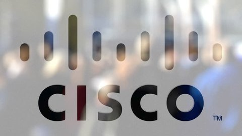 Cisco systems logo on a glass against blurred crowd on the steet  editorial  3d rendering
