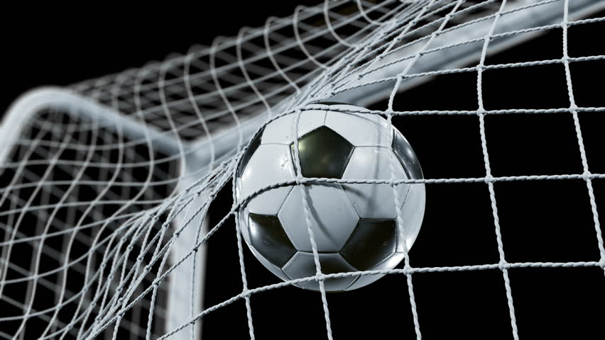 Soccer Ball flying into the Goal Net in Slow Motion. Beautiful Football 3d animation of the Goal Moment. Alpha channel Green Screen. 4k Ultra HD 3840x2160. #31968214
