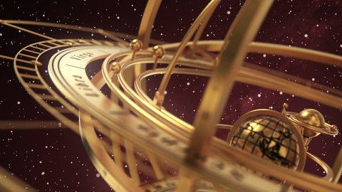 Armillary Sphere On Red Background Of Starburst. 3D Animation. Seamless Looped.
