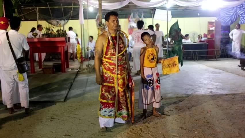 Trang, Thailand - October 22, 2017: Chinese god Spiritual Medium (Soldier diety) pray for god at Tai-Sia-Hood-Jow Trang Shrine during vegetarian festival.