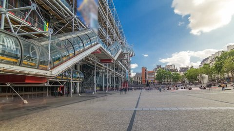 PARIS, FRANCE - CIRCA JULY 2017: Facade of the Centre of Georges Pompidou timelapse hyperlapse. The Centre of Georges Pompidou is one of the most famous museums of the modern art in the world.