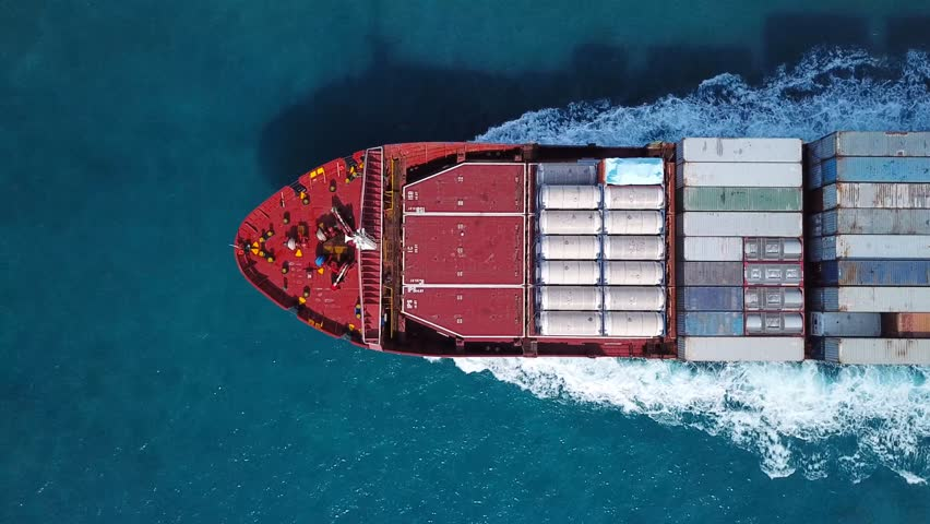 Large container ship at sea - Top down Aerial  #32074804