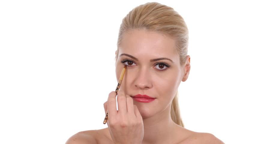 Beautiful Portrait of Blonde Fashion Model Woman Apply Makeup Using Paint Brush | Shutterstock HD Video #32078074