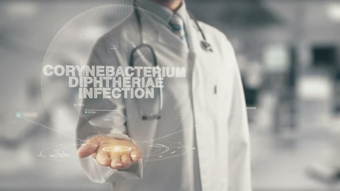 Doctor holding in hand Corynebacterium diphtheriae Infection