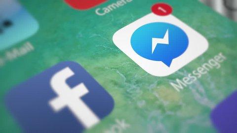 Facebook Messenger. App notifications on smartphone