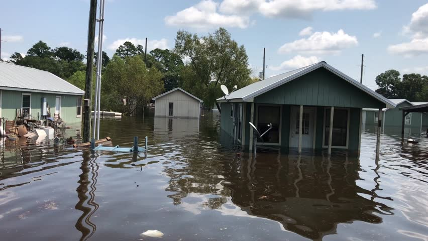 Houston, Texas - United States - August 27, 2017: Flooded wooden houses from hurricane Harvey in Houston, Texas