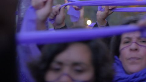 "Buenos Aires, CIRCA May 2017: Demonstration against Femicide in Argentina. Ni una menos ""Not one woman less"" is an Argentine feminist movement, which has spread across several Latin American countries"