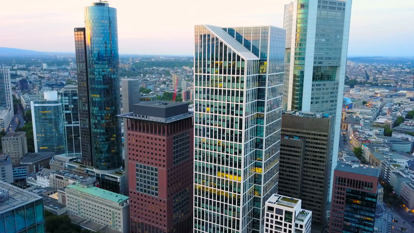 Aerial view of business area in Frankfurt city with skyscrapers | Shutterstock HD Video #32110654