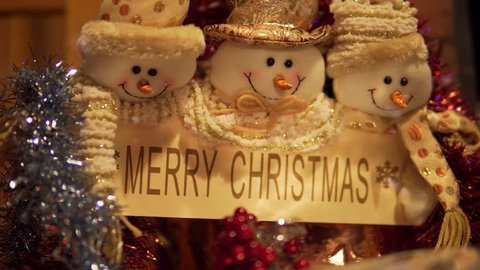 Merry Christmas with Happy Snowmen, Snowflakes and Welcome Sign in 4K.