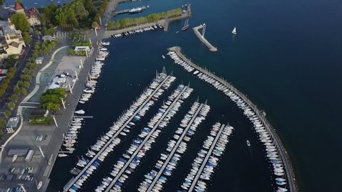 Aerial view of Lausanne Ouchy port and Lake, Switzerland.  Lausanne is home to the International Olympic Committee headquarters, as well as the Olympic Museum and  Olympic Park.