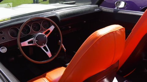 muscle car orange leather interior rotate slow
