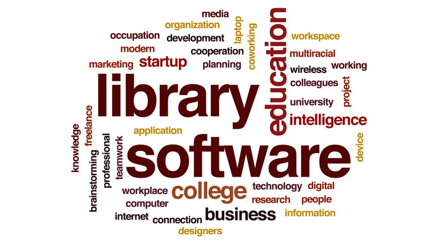 Library software animated word cloud, text design animation. | Shutterstock HD Video #32140624