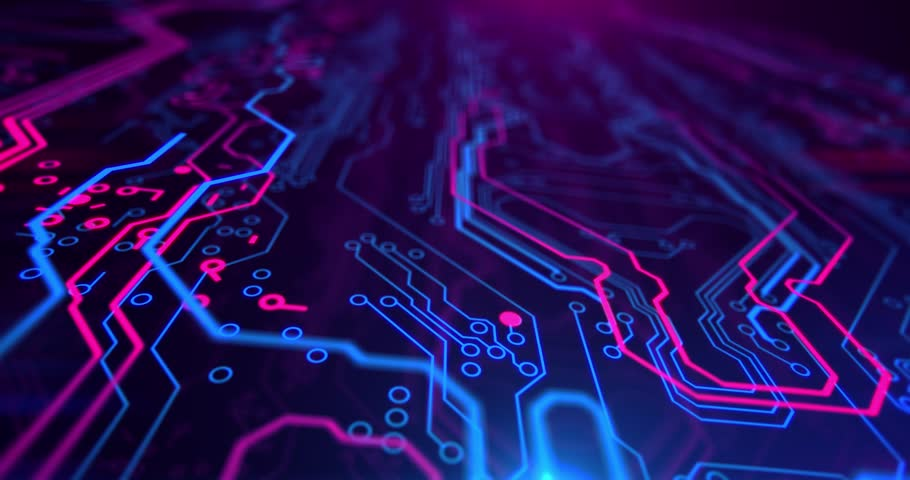 Neon Circuits Wallpaper And Background Image: Purple Circuit Board Electronic Hi-tech. Beautiful Chip