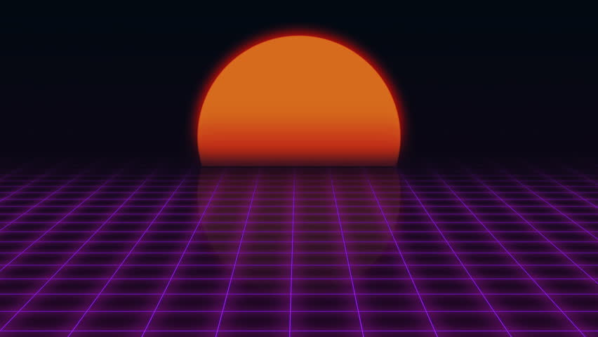 Retro futuristic flight over the grid and sunset 80s - Space 80s wallpaper ...