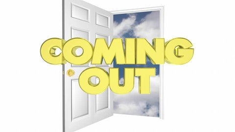 Coming Out Of Closet Door Openness Announcement 3d Animation
