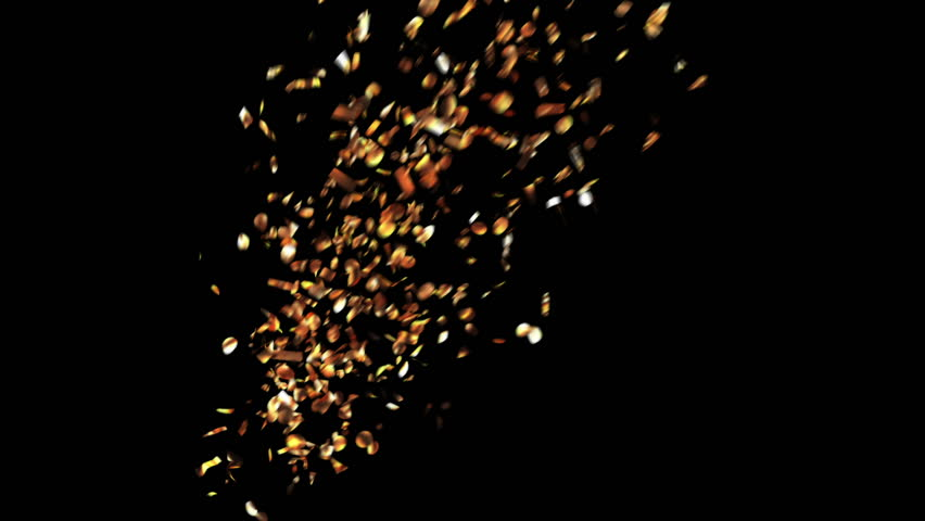 Golden Confetti Party Popper Explosions on a Green and Black Backgrounds, Five Options. 3d animation, Full HD 1080. look for more options in my portfolio