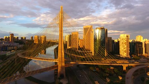 Aerial view of Octavio Frias de Oliveira Bridge, a landmark in Sao Paulo, the biggest city in Brazil