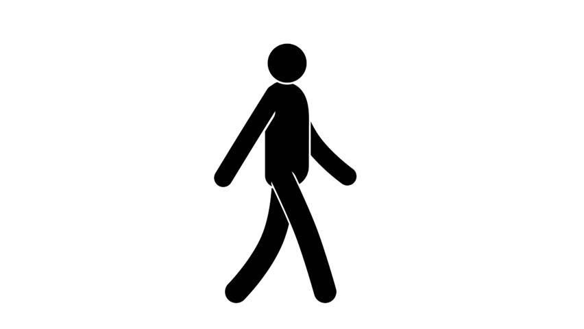 Icon man walk cycle. Loop animation with  included alpha channel.