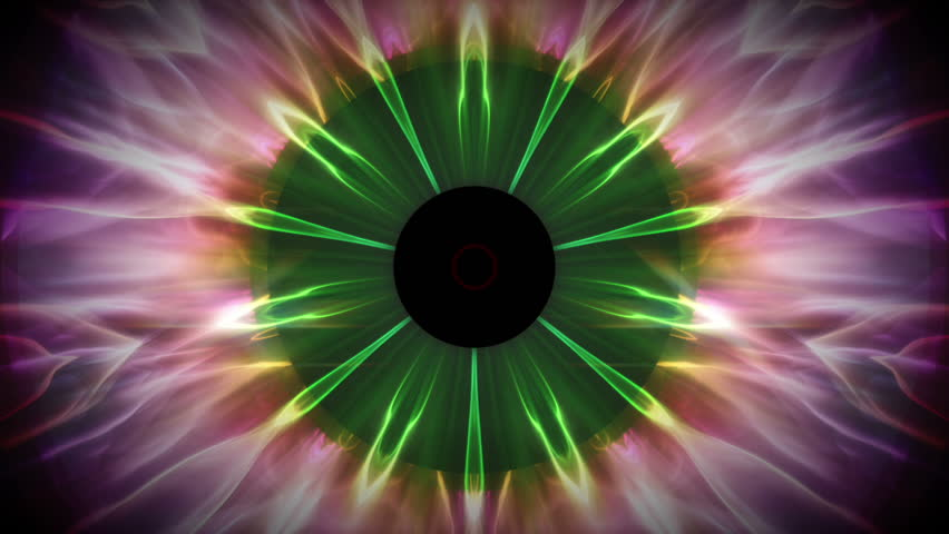Eeris - Colorful Kaleidoscopic Video Background Loop /// An animation that is reminiscent of the iris of an eye. Interesting circular motion and psychedelic colors.