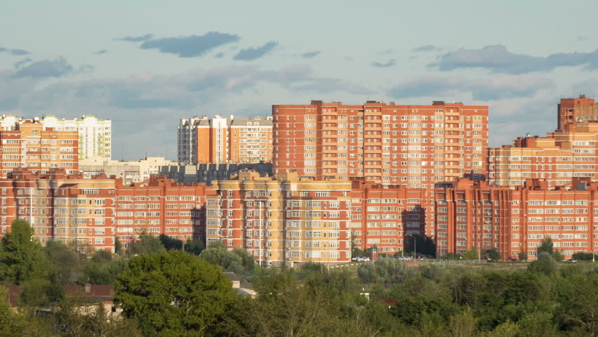 Timelapse residential urban area of Moscow city. Panorama of Urban buildings