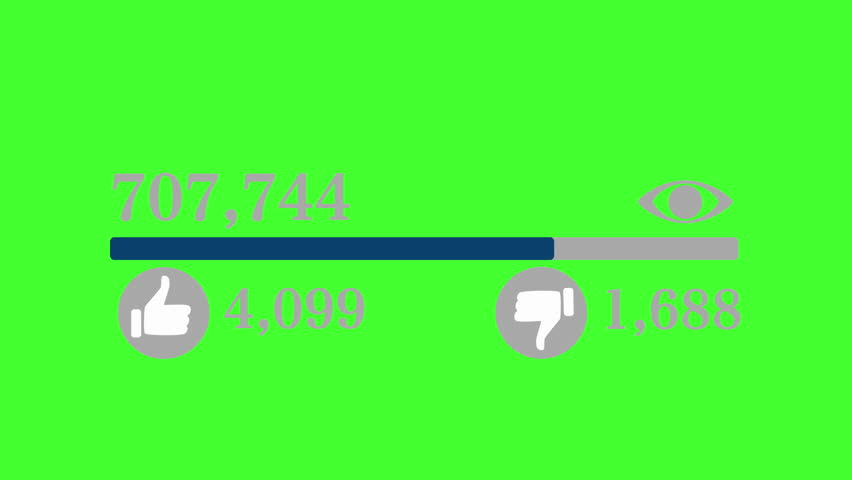 Animation of progressing bar counting views of social media network with thumbs up thumbs down Isolated on green screen chroma key background  | Shutterstock HD Video #32211004