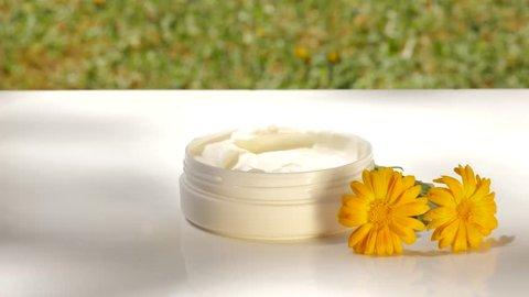 Applying marigold face cream from jar. Outdoors, summer, nature, organic cosmetics concept