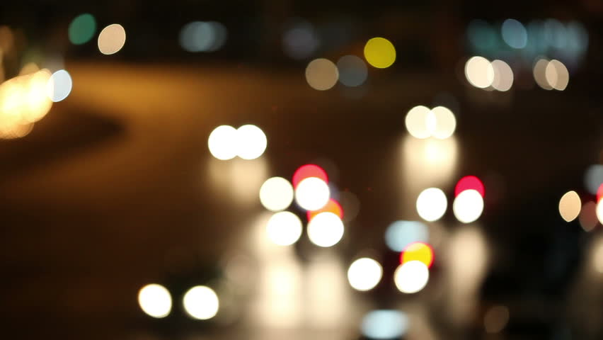 Defocused night traffic lights-Bangkok