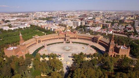 Seville, Spain, aerial view of Plaza de Espana (Spanish Square) and Sevilla cityscape.