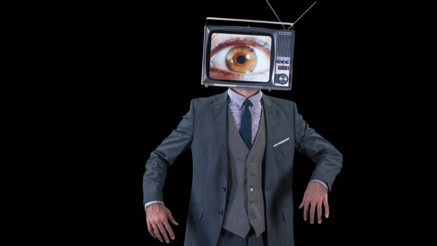 Mr tv headcool man in a suit dancing with a television as a head. the tv is has changing eyes playing on the screen | Shutterstock HD Video #32256964