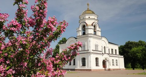 Brest, Belarus. Belfry, Bell Tower Of Garrison Cathedral St. Nicholas Church In Memorial Complex Brest Hero Fortress In Sunny Summer Day.