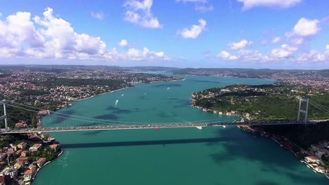 aerial view of istanbul bosphorus bridge
