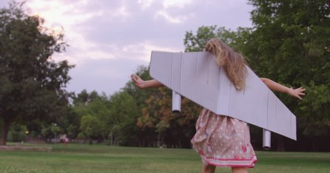 Adorable Little Girl Running Through Park Dressed As Airplane Childhood Happiness Joy Innocence Concept Slow Motion Shot On Red Epic 8K