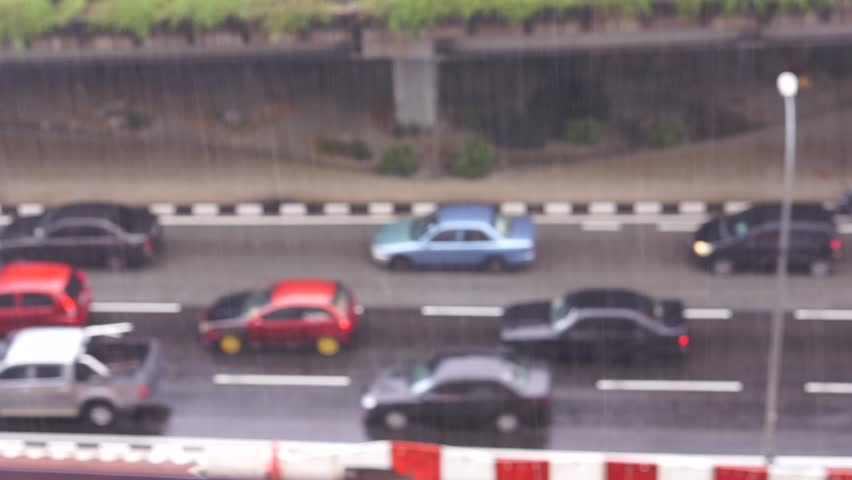 Traffic jam when rain In The City. (Blurred). Out of Focus. Too view | Shutterstock HD Video #32287654