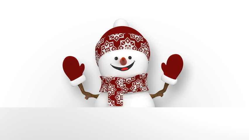 Funny Snowman in Red Hat Greeting with Hands and Smiling. Beautiful 3d Cartoon Animation with Green Screen. Animated Greeting Card. Merry Christmas and Happy New Year Concept. 4k UHD 3840x2160.
