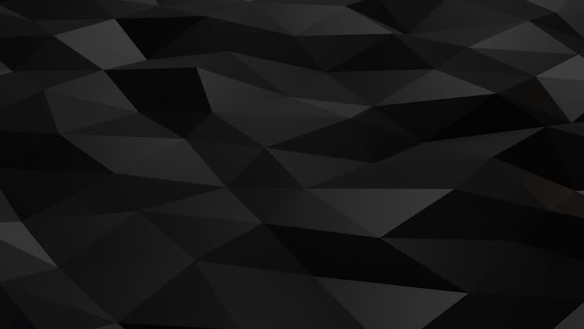 Black polygonal shiny shapes animation loop. Background motion design, seamless looping. HD resolution. 10 seconds.