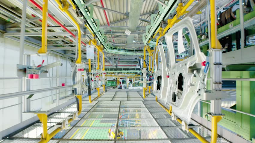 Car manufacturing industry. Assembly line of car parts. Row of car doors | Shutterstock HD Video #32377084