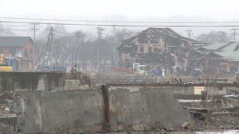 Japan Tsunami 1 Year On - Kesennuma Port Devastation. Shot in Kesennuma city in full HD 1920x1080 30p on Sony EX1.