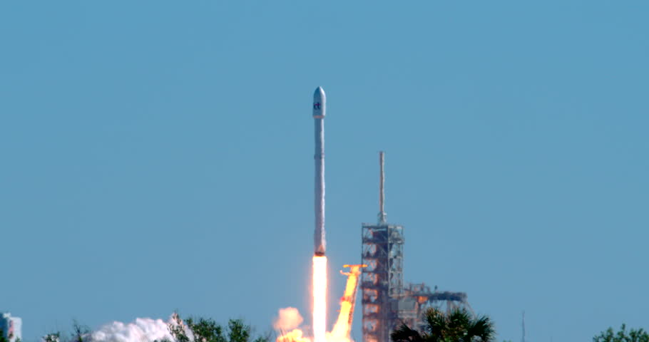 KENNEDY SPACE CENTER, FLORIDA, OCT 2017 - SpaceX launches a Flacon 9 rocket carrying the Koreasat 5A communications satellite for KT SAT based in South Korea.  4K at 120 fps slow motion.