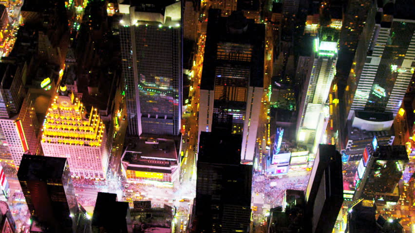 Aerial view of Times Square and Broadway illuminated at night, Manhattan, New York, USA