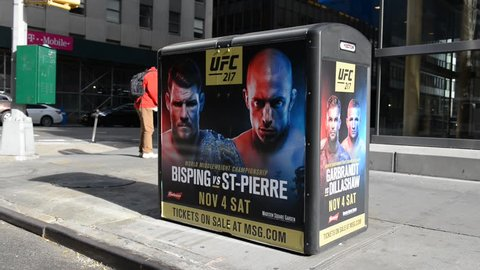 NEW YORK NOVEMBER 4 2017. After years of debate, mixed martial arts or MMA of the UFC is finally legal in New York City with Michael Bisping vs George St-Pierre headlining the November 4 event at MSG
