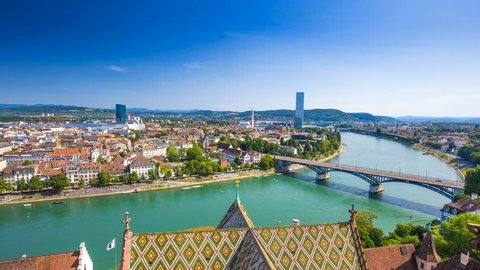Old city center of Basel with Munster cathedral and the Rhine river, Switzerland, Europe. Basel is a city in northwestern Switzerland on the river Rhine and third-most-populous city.