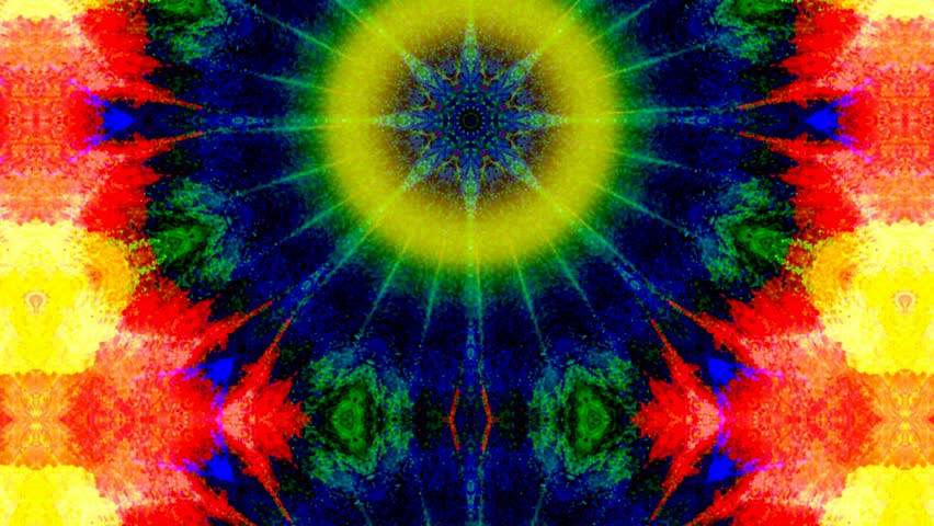 Kaleidoscope With Tie Dye Colors Rotate Stock Footage Video 3245575