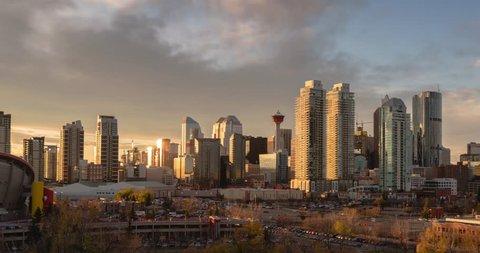 Calgary skyline day to night time lapse